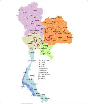 ภาพแผนที่สาขาของปึงหงี่เชียงในประเทศไทย